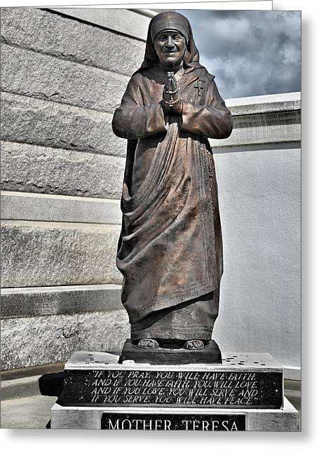 The Big Three Greeting Cards - Mother Teresa - St Louis Cemetery No 3 New Orleans Greeting Card by Christine Till