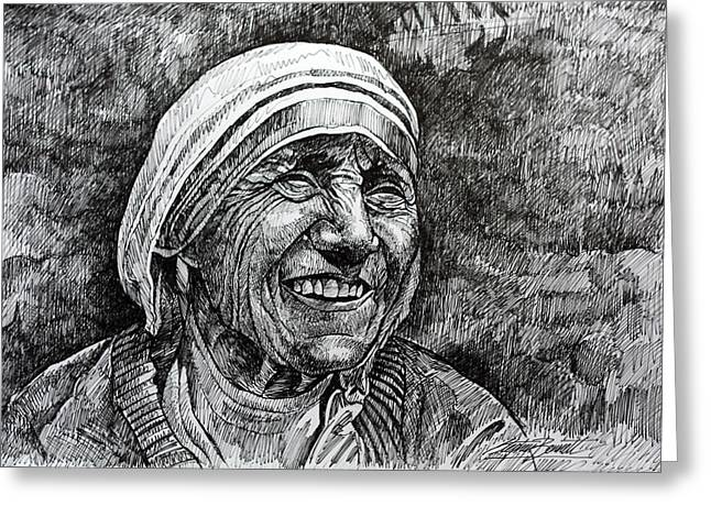 Portrait Of Mother Teresa Greeting Cards - Mother Teresa Greeting Card by Stephen  Bennett