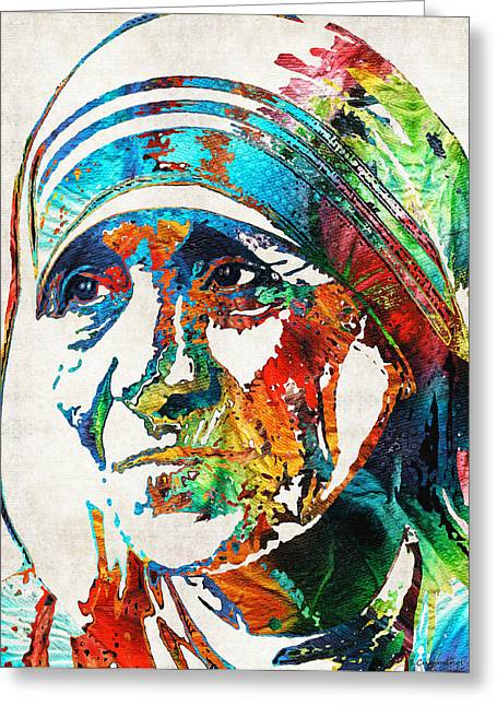 Catholic Saints Paintings Greeting Cards - Mother Teresa Tribute by Sharon Cummings Greeting Card by Sharon Cummings