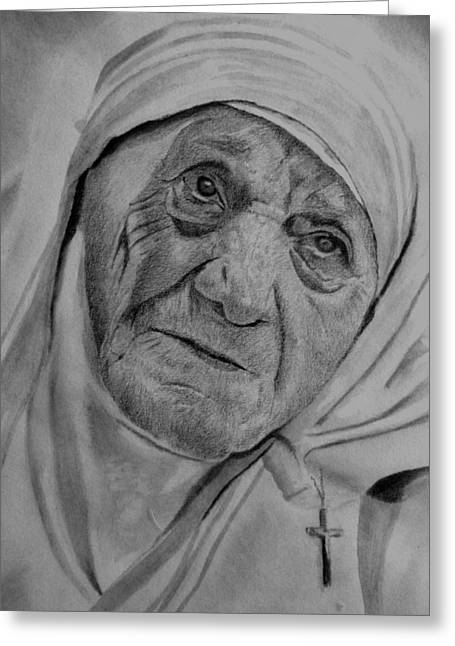 Mother Theresa Greeting Cards - Mother Theresa-close up Greeting Card by Derrick Parsons