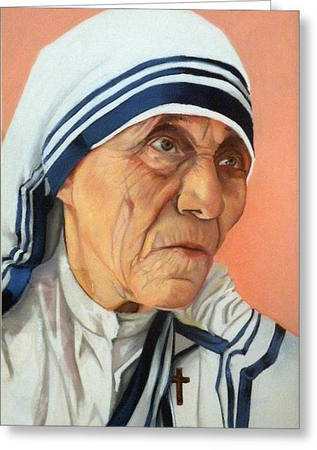 Mother Theresa Greeting Cards - Mother Theresa Greeting Card by Kathleen English-Barrett