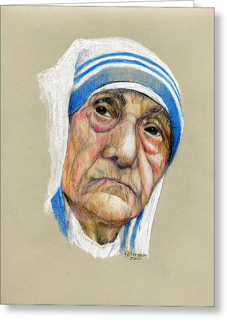 Mother Theresa Greeting Cards - Mother Theresa Greeting Card by Larry Peterson