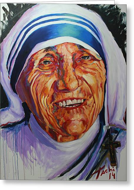 Savant Paintings Greeting Cards - Mother Theresa Greeting Card by Tachi Pintor