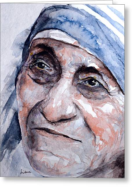 Mother Theresa Greeting Cards - Mother Theresa watercolor Greeting Card by Laur Iduc