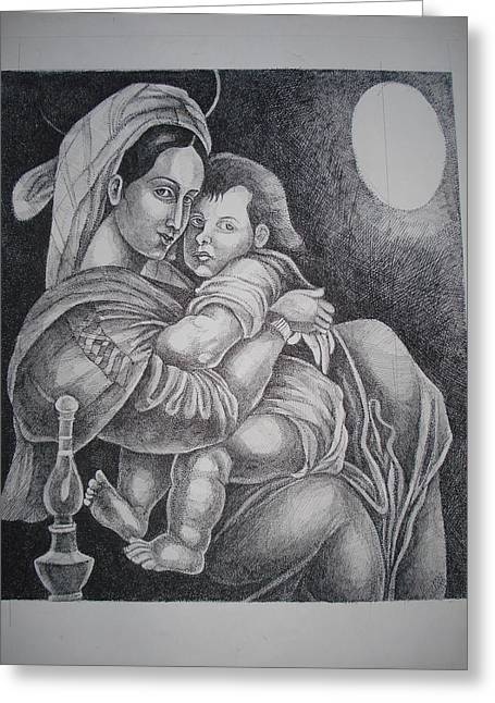 Prasenjit Dhar Paintings Greeting Cards - Mother with her baby Greeting Card by Prasenjit Dhar