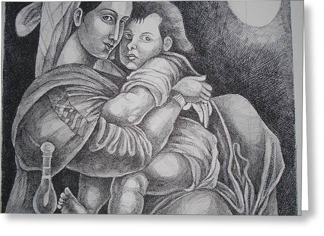 Mother with her baby Greeting Card by PRASENJIT DHAR