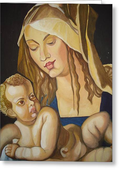 Prasenjit Dhar Paintings Greeting Cards - Mother with her child Greeting Card by Prasenjit Dhar