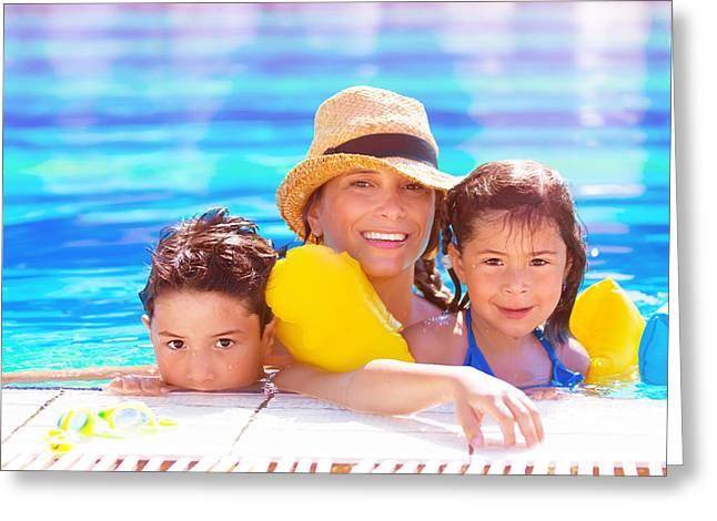 Floating Girl Greeting Cards - Mother with kids in poolside Greeting Card by Anna Omelchenko