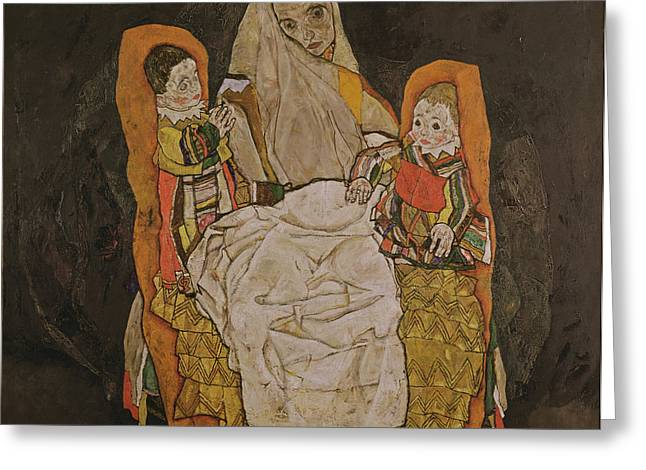 Crt Greeting Cards - Mother With Two Children, 1915-17 Oil On Canvas Greeting Card by Egon Schiele