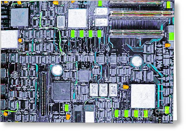 Silicon Valley Art Greeting Cards - Motherboard Abstract 20130716 p38 Greeting Card by Wingsdomain Art and Photography