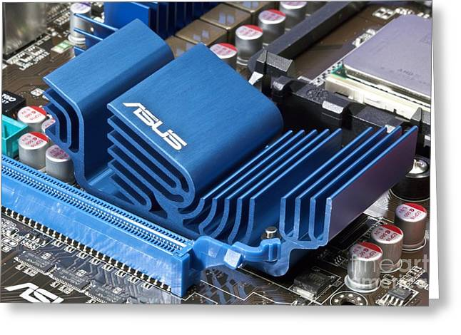 Incorporated Greeting Cards - Motherboard Heat Sink Greeting Card by Martyn F. Chillmaid