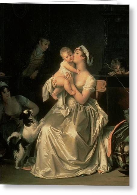 Spaniel Greeting Cards - Motherhood, 1805 Greeting Card by Marguerite Gerard