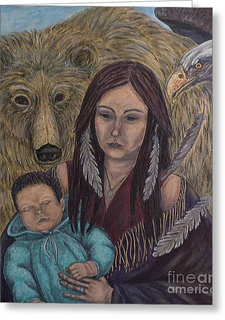 Native American Spirit Portrait Greeting Cards - Motherhood-Guardian Spirits Greeting Card by Kim Jones