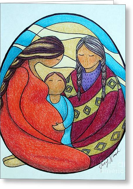 First Love Drawings Greeting Cards - Motherhood Greeting Card by Joey Nash