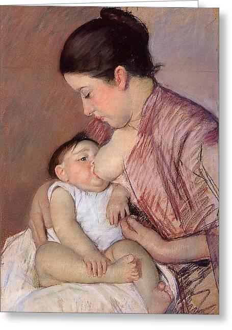 Cassatt Digital Greeting Cards - Motherhood Greeting Card by Marry Cassatt