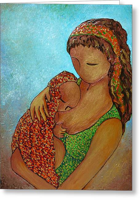 Recently Sold -  - Caring Mother Greeting Cards - Motherhood painting Just close to you original by Gioia Albano Greeting Card by Gioia Albano