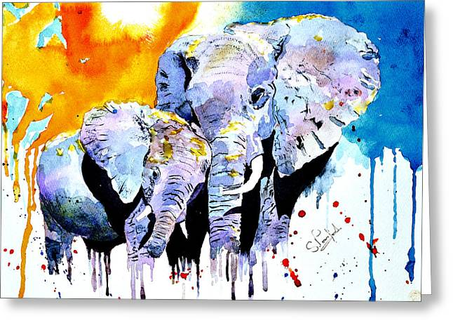 Elephants Greeting Cards - Motherly love Greeting Card by Steven Ponsford