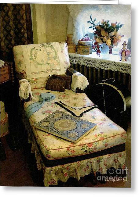 Dressing Room Digital Art Greeting Cards - Mothers Chintz Chaise in the Corner Greeting Card by RC deWinter