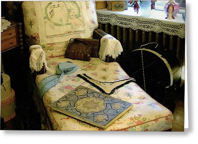 Mother's Chintz Chaise in the Corner Greeting Card by RC deWinter