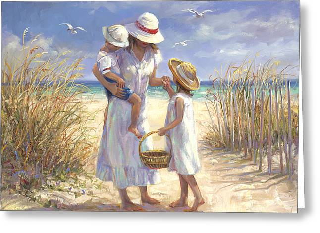 Special Moment Greeting Cards - Mothers Day Beach Greeting Card by Laurie Hein