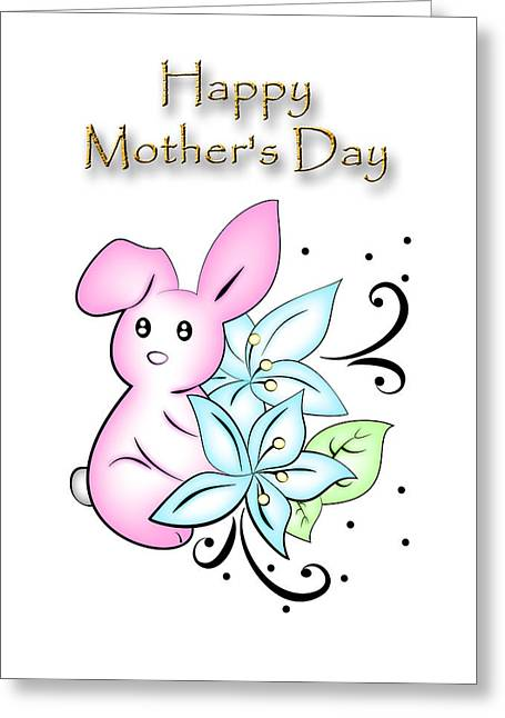 Wildlife Celebration Greeting Cards - Mothers Day Bunny Greeting Card by Jeanette K