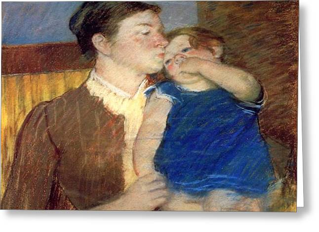 Cassatt Photographs Greeting Cards - Mothers Goodnight Kiss 1888 Greeting Card by Florene Welebny