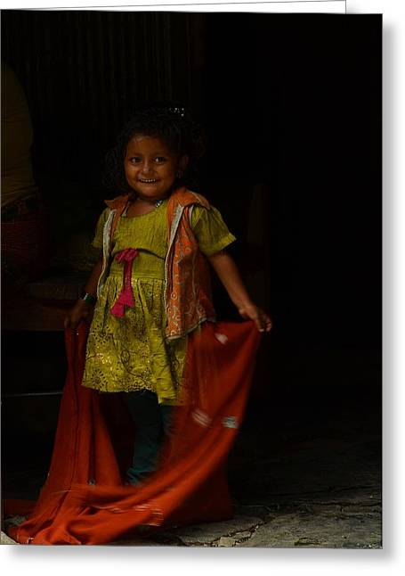 Nepal Greeting Cards - Mothers Little Helper Greeting Card by Aaron S Bedell