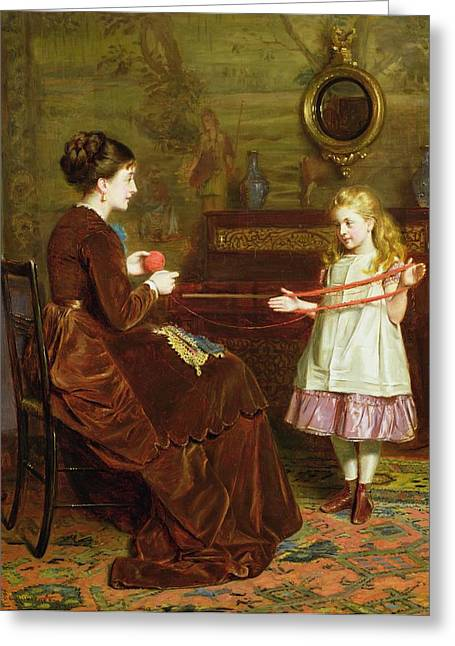 Tapestry Wool Greeting Cards - Mothers Little Helper Greeting Card by George Goodwin Kilburne