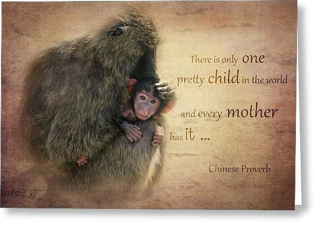 Child Care Digital Greeting Cards - Mothers Love Greeting Card by Barbara Orenya