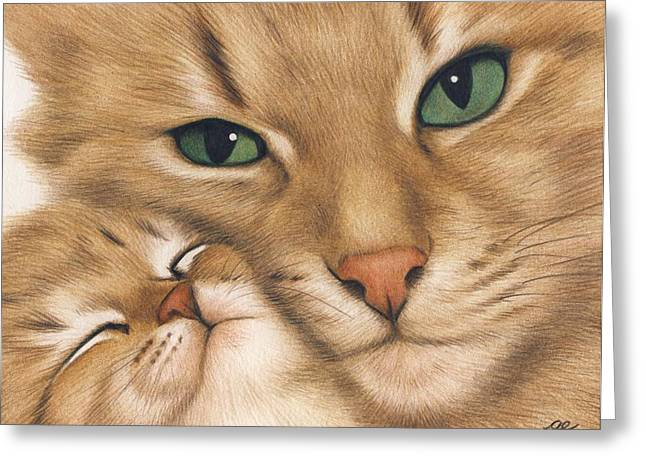 Baby Kitten Art Drawings Greeting Cards - Mothers Love Greeting Card by Genevieve Desy