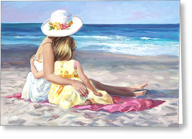 Tropical Beach Greeting Cards - Mothers Love Greeting Card by Laurie Hein