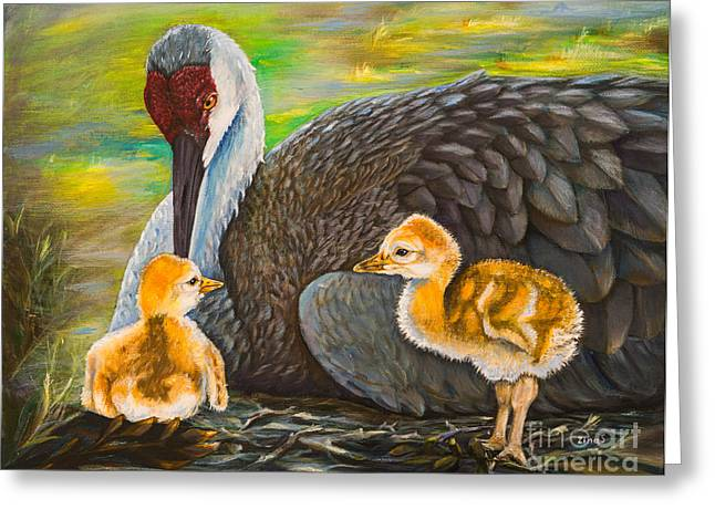 Sandhill Cranes Paintings Greeting Cards - Mothers love Greeting Card by Zina Stromberg