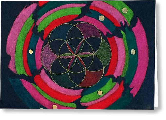 Sacred Pastels Greeting Cards - Mothership Mandala Greeting Card by Folade Speaks