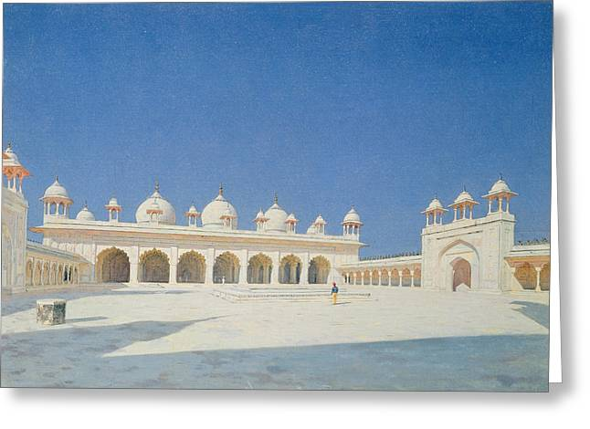 White Marble Greeting Cards - Moti Masjid, Agra, 1874-76 Oil On Canvas Greeting Card by Vasili Vasilievich Vereshchagin
