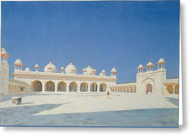 Moti Masjid, Agra Greeting Card by Vasili Vasilievich Vereshchagin
