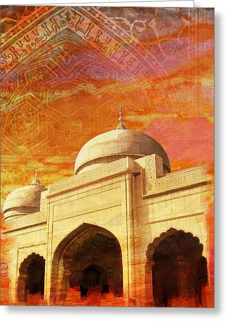 Akbar Shahjahan Greeting Cards - Moti Masjid Greeting Card by Catf