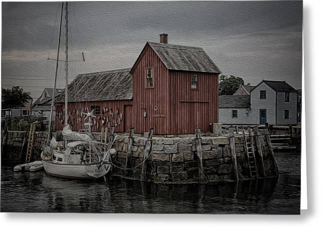 New England Village Greeting Cards - Motif 1 - Painterly Greeting Card by Stephen Stookey