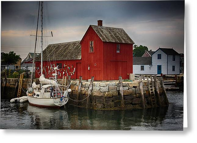 Lobster Shack Greeting Cards - Motif 1 - Rockport Harbor Greeting Card by Stephen Stookey