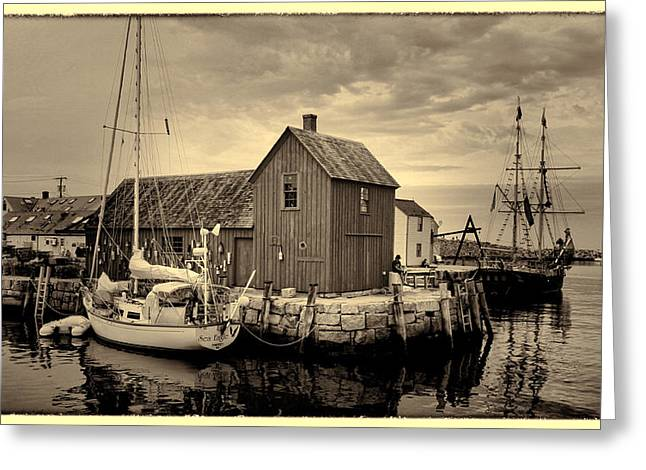 Lobster Shack Greeting Cards - Motif 1 Antiqued Print Greeting Card by Stephen Stookey