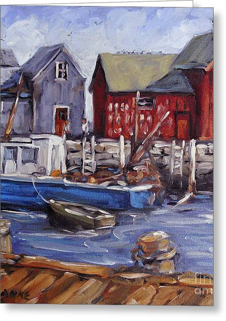 Exposure Paintings Greeting Cards - Motif I - Wharf Scene  Greeting Card by Richard T Pranke