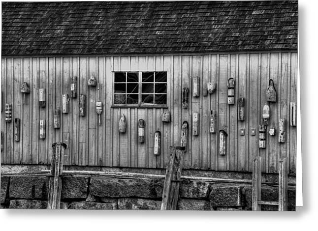 Red Fishing Shack Greeting Cards - Motif no 1 Fish Shack in black and white Greeting Card by Joann Vitali