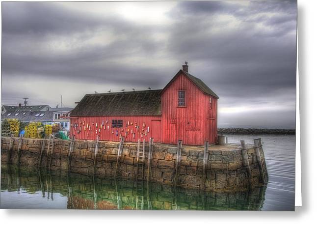 Red Fishing Shack Greeting Cards - Motif no 1 - Fishing Shack Greeting Card by Joann Vitali