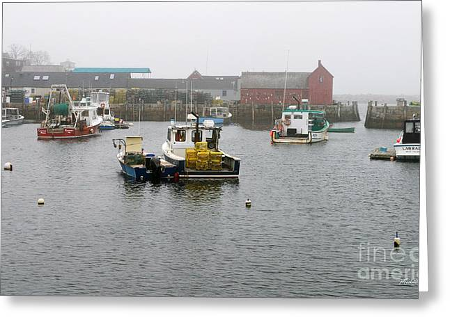 Red Fishing Shack Greeting Cards - Motif No. 1 On a Foggy Day in May Greeting Card by Michelle Wiarda