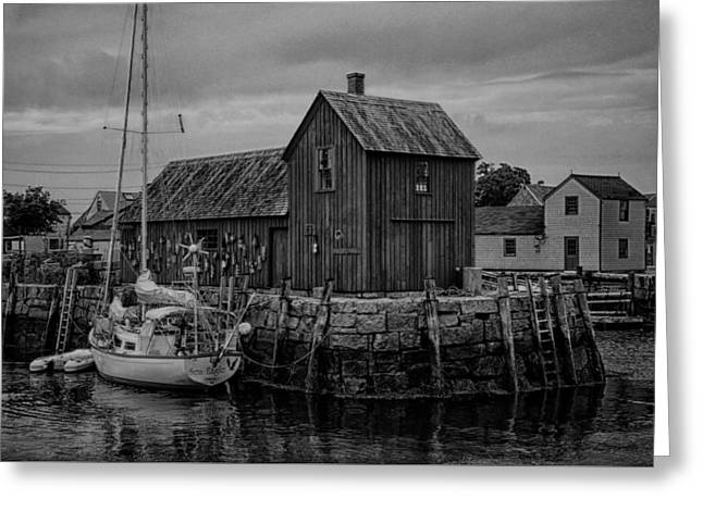 Lobster Shack Greeting Cards - Motif Number 1 - Rockport Harbor BW Greeting Card by Stephen Stookey