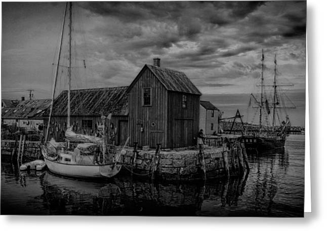 Lobster Shack Greeting Cards - Motif Number 1 - Black and White Greeting Card by Stephen Stookey