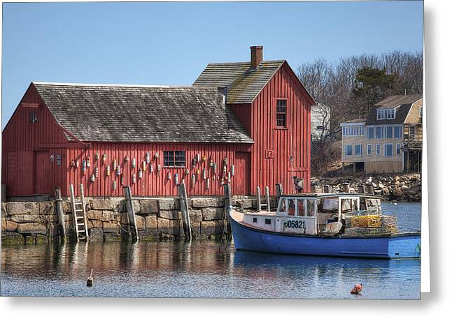 Red Fishing Shack Greeting Cards - Motif Number 1 Greeting Card by Eric Gendron