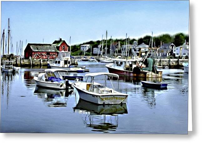 New England Village Greeting Cards - Motif Number 1 Rockport Massachusetts Greeting Card by Nadine and Bob Johnston