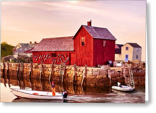 Shack Mixed Media Greeting Cards - Motif Number One Rockport Massachusetts  Greeting Card by  Bob and Nadine Johnston