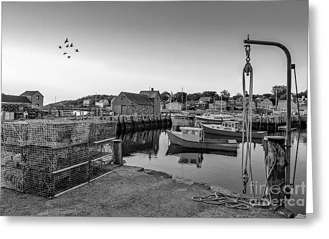 Wharf Greeting Cards - Motif Number One Sunrise BW Greeting Card by Susan Candelario