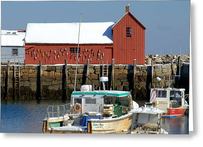 Boats At Dock Greeting Cards - Motif  with Snow Cover Greeting Card by Caroline Stella